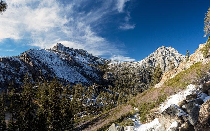 Looking back on snowy Eagle Falls Trail towards Phipps Peak and Jakes Peak