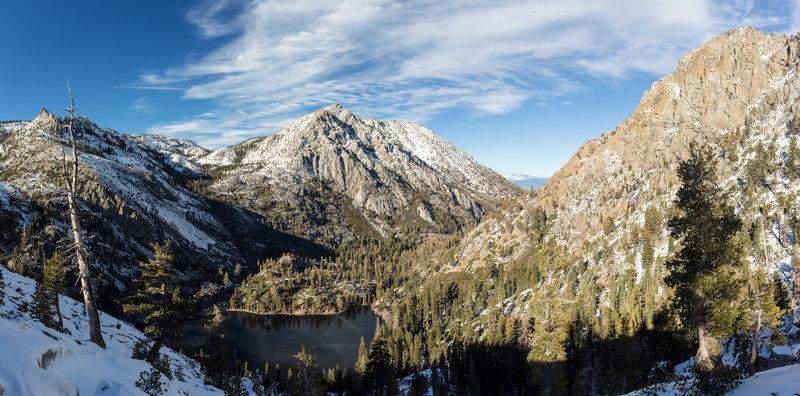 Eagle Lake in front of Phipps Peak, Jakes Peak, and Maggies Peaks
