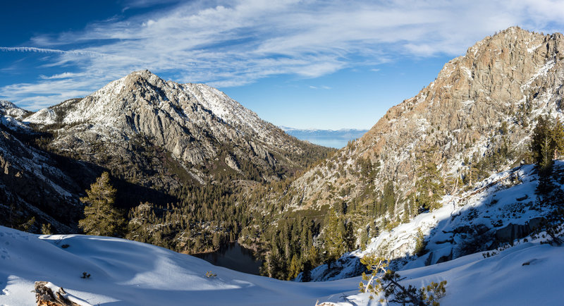 Jakes Peak and Maggies Peak from snowy Eagle Falls Trail