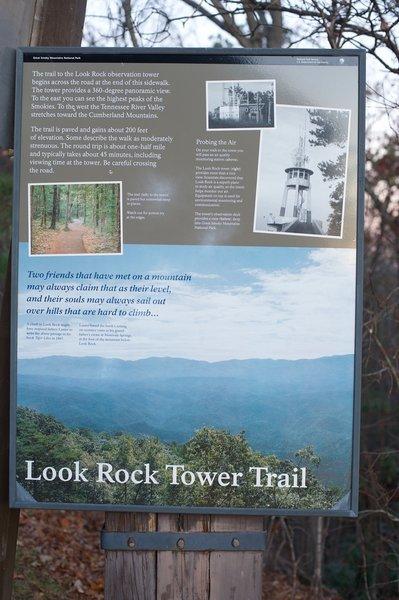 Information regarding the Look Rock Tower Trail
