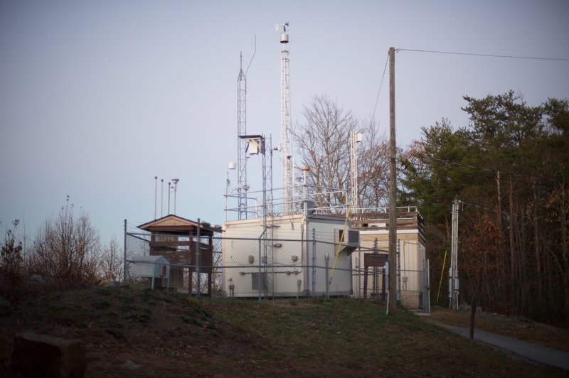 Looking back at the air quality monitoring station that sits at Look Rock and monitors the air quality of the Smokies and its gateway communities.
