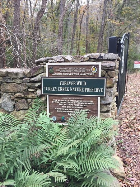 Welcome sign to Turkey Creek Nature Preserve - you have arrived!
