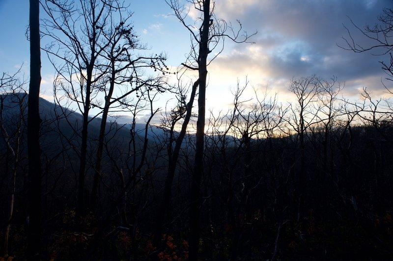 Winter sunset along the Baskins Creek Trail.