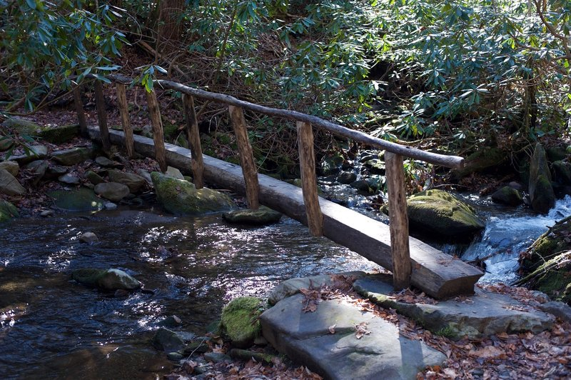 One of the three log bridges that must be crossed.   Use caution in the mornings as they may be icy with ice or frost due to the cooler temperatures around the creeks.