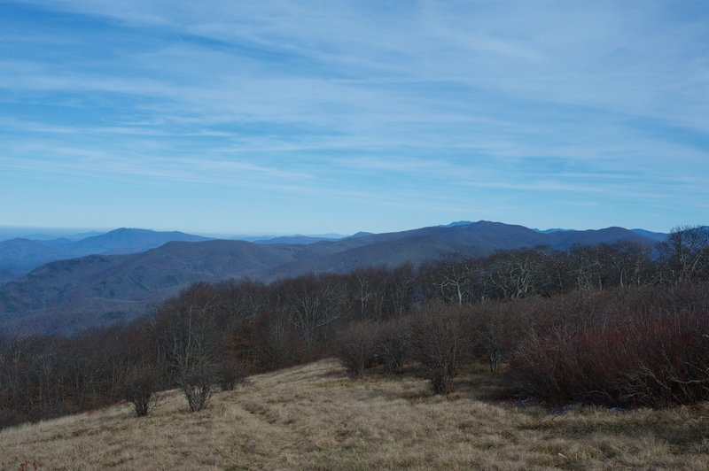 Other ridges and mountains can be seen from the bald.  It is a spectacular view.