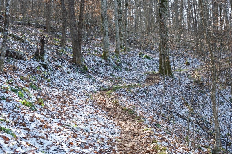 Snow may rest in the shaded parts of the mountains, even if there was no snow at the start of the trail.