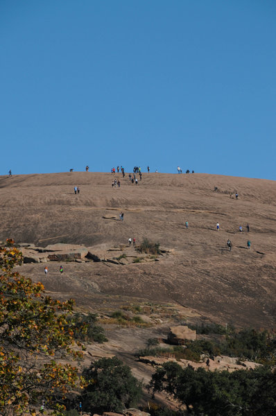 The top of Enchanted Rock can get rather crowded