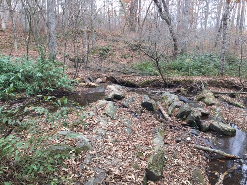 The trail crosses small creeks at several places