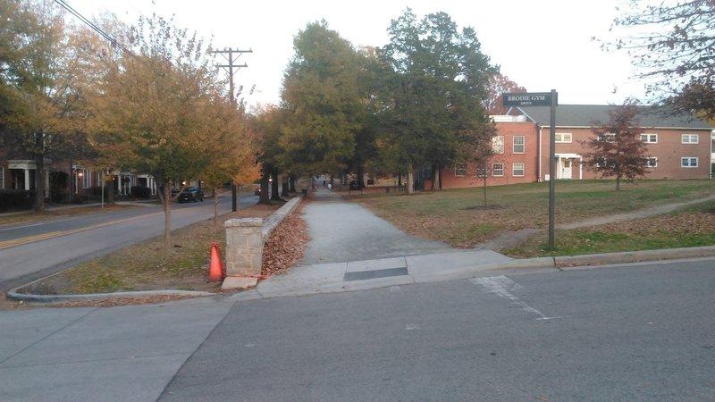 Duke East Trail looking toward N. Buchanan Ave
