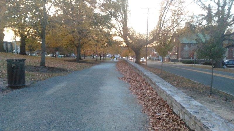 Duke East Campus Trail looking toward Broad Street