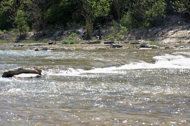 Paluxy River rapids along the trail