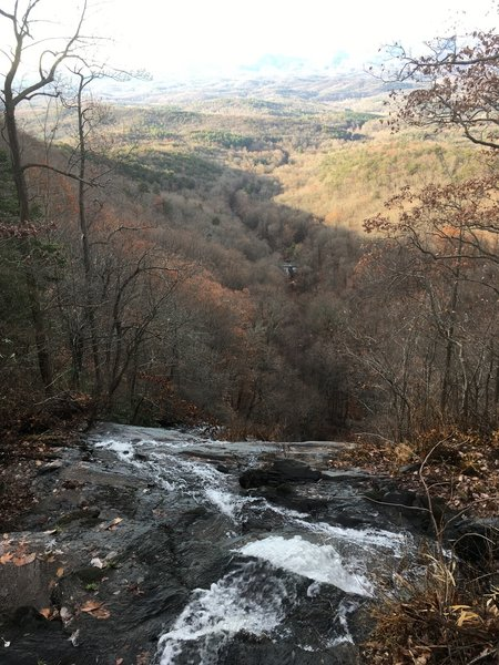 View down Amicalola Falls looking down towards Fausett Lake