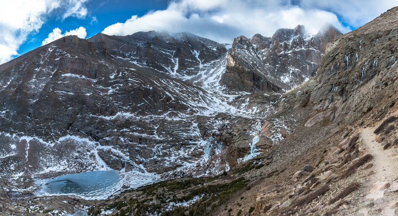 Approaching the descent down to Chasm lake with Long's Peak looming above.