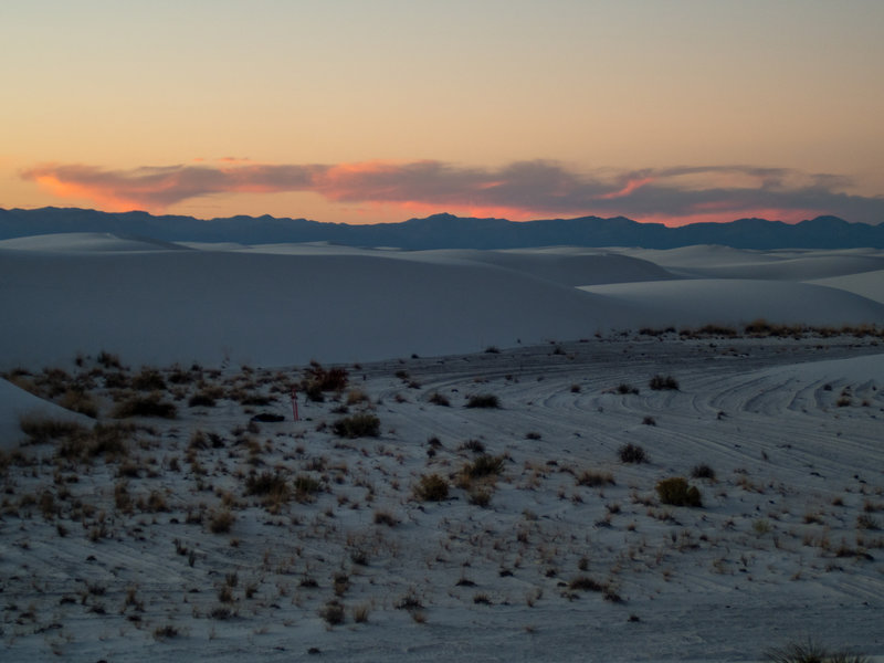 One of the campsites just after sunset. San Andres Mountains in the background.