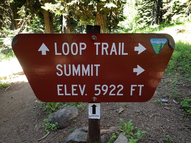 The sign at the loop junction