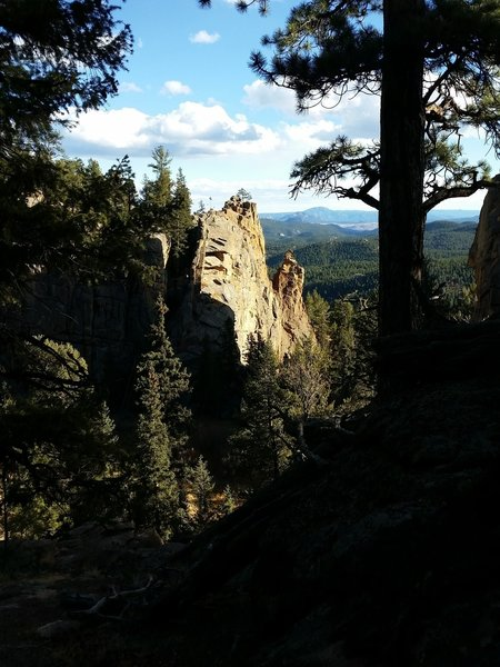 Cathedral Rocks as seen from the Elk Falls Trail