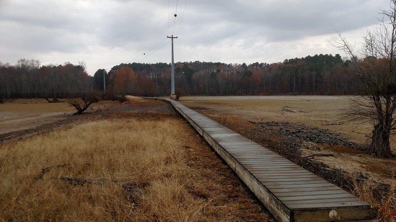 Looking back at the boardwalk from Little Lick Creek Bridge