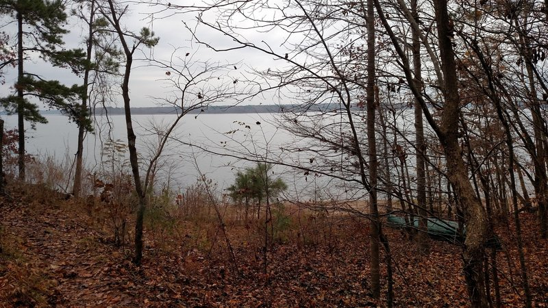 View of Falls Lake after making a sharp right turn on MST past 2 houses