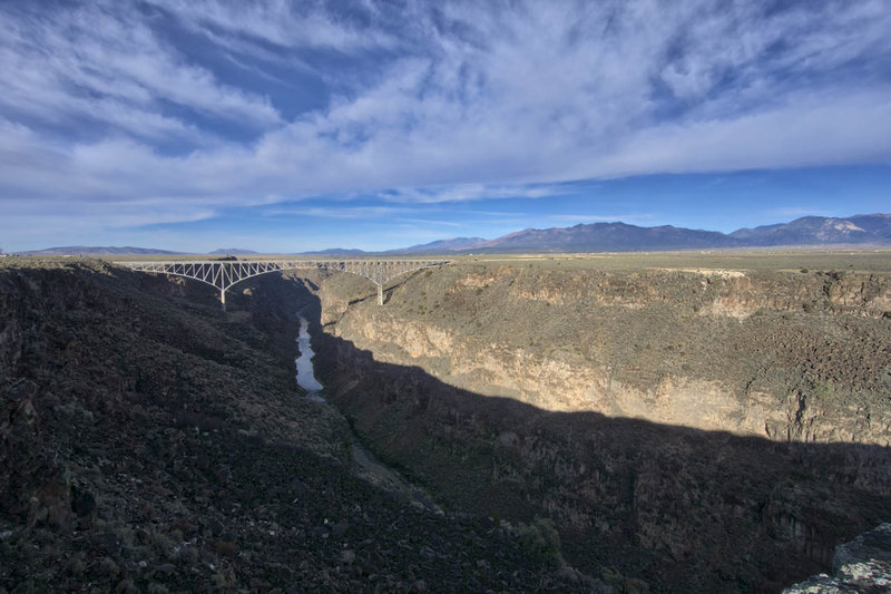The HWY 64 bridge over the Rio Grande from West Rim trail