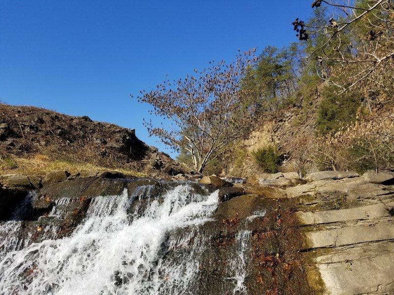 Lakeside trail waterfall