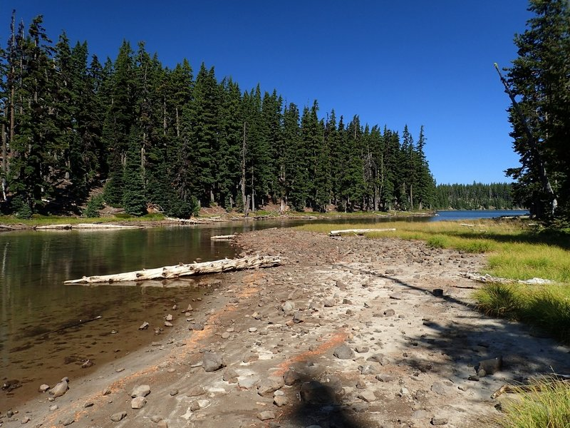 """The narrow """"waist"""" in Lake Alta at low water"""