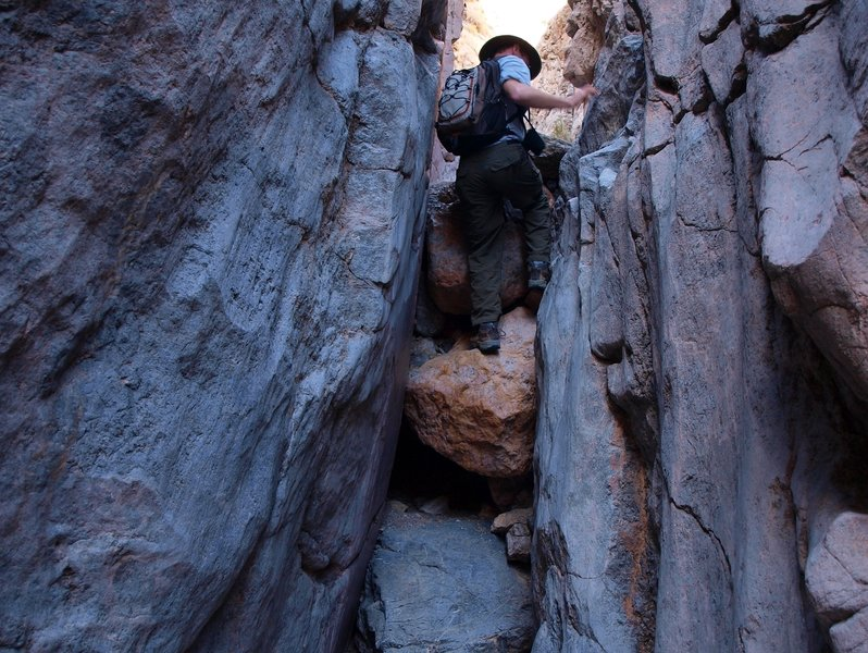 Some easy scrambling in Slit Canyon