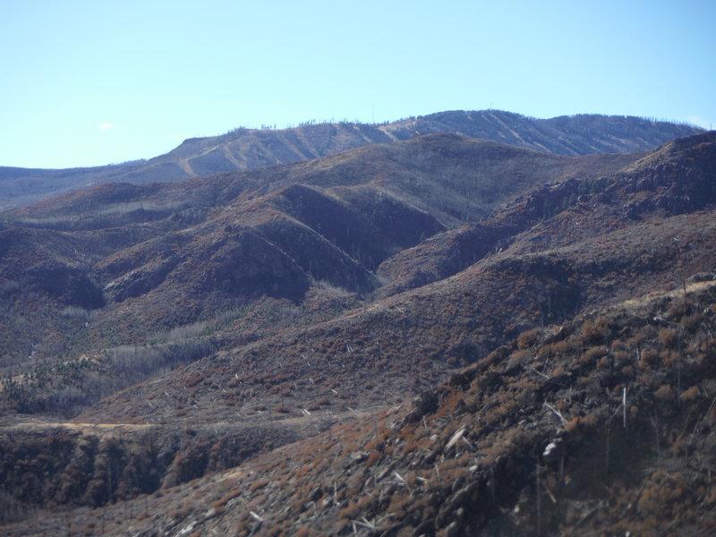 Pajarito Mountain ski runs looking southwest.