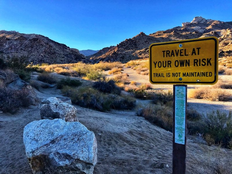 Warming sign at the start of the Grapevine Canyon trailhead.