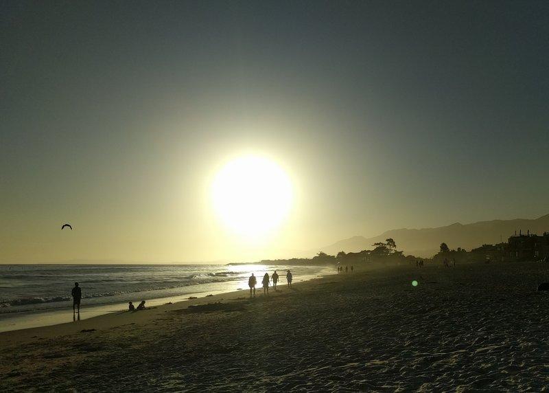 The sun goes down on Carpinteria State Beach