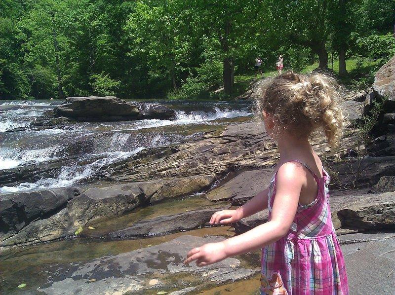 Exploring the falls.