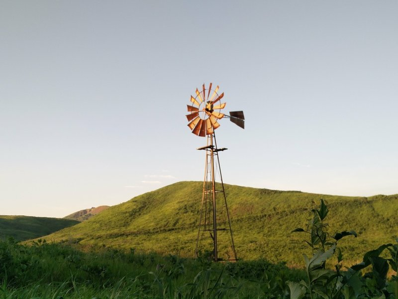 A windmill stands guard along the South Ridge Trail.