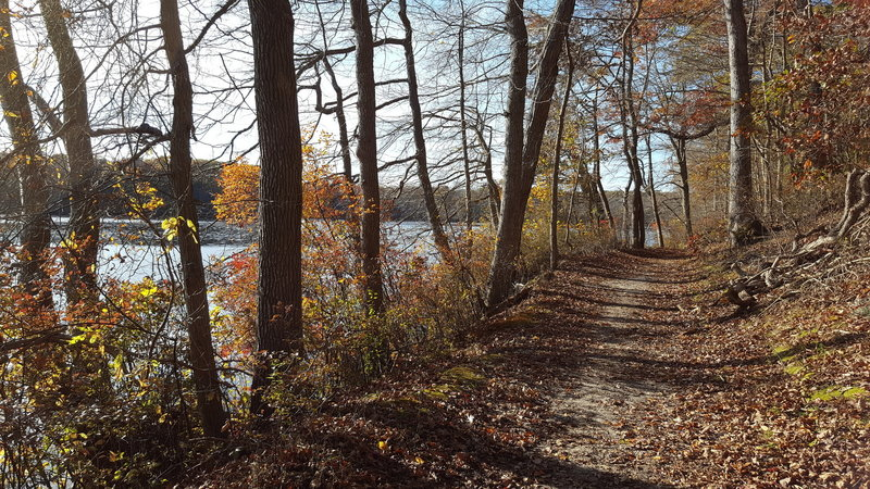 Hiking along side New Mill Pond.  It was beautiful!