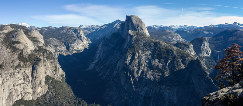 Half Dome from Glacier Point. Grizzly Peak, Mount Broderick, Liberty Cap, and Nevada Falls on the right. North Dome, Basket Dome, Washington Column, and Royal Arches on the left.