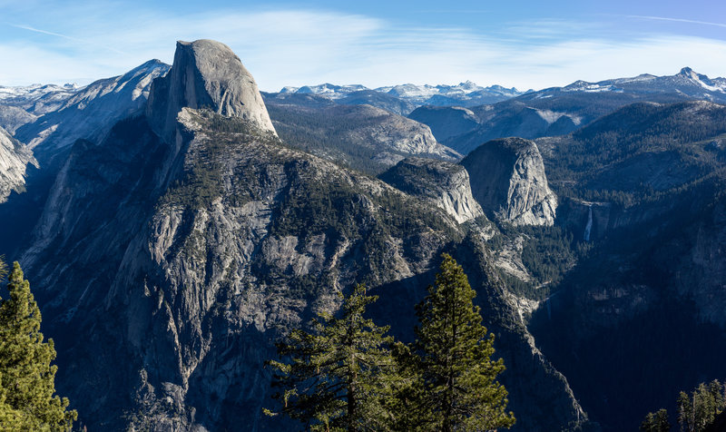 Half Dome. Nevada Falls and Vernal Falls to the right in front of Liberty Cap.