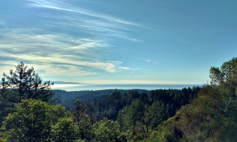Beyond the redwood forested coastal side of the Santa Cruz Mountains is the Pacific Ocean.