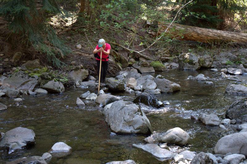 Crossing the West Fork of Muir Creek