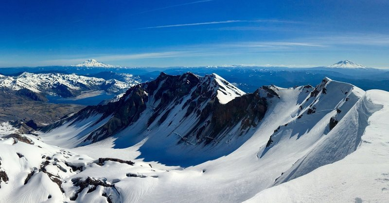 Rainier (left) and Adams (right) from the top of the St. Helens Caldera.