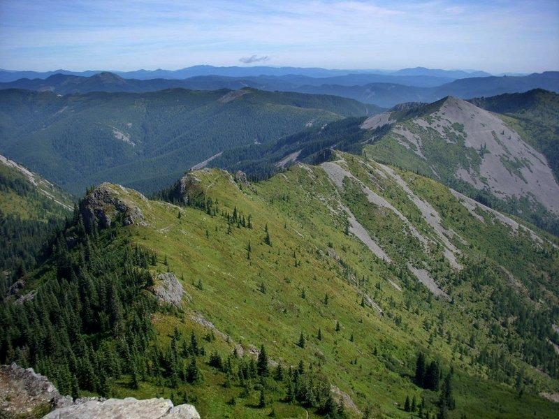 The Bluff Mountain Trail follows this ridge