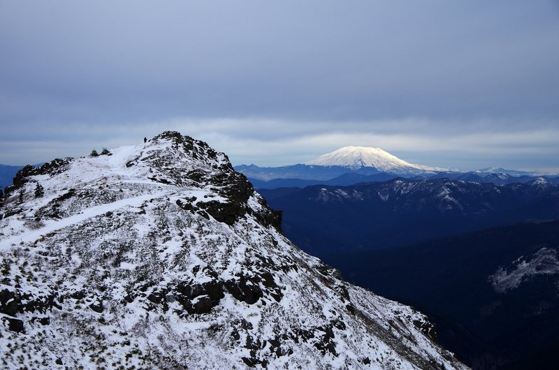The summit of Silver Star Mountain with Mt. St. Helens on the horizon