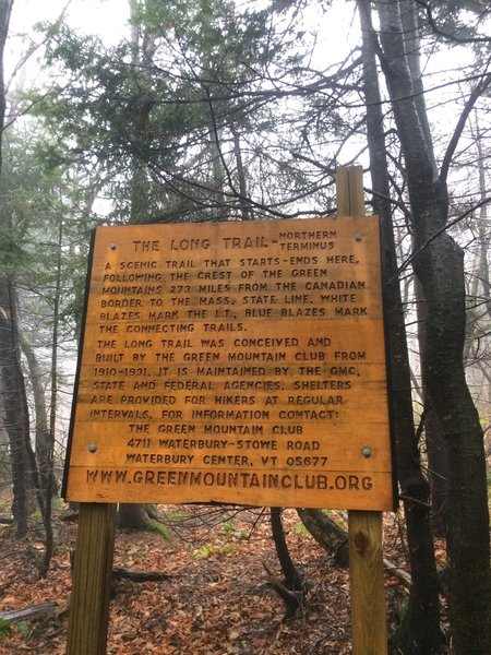 This is either the last or the first sign you'll see if you're hiking the Long Trail (LT).