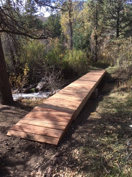 """Bridge crossing of West Monument Creek on the """"green"""" route of the Falcon Trail."""