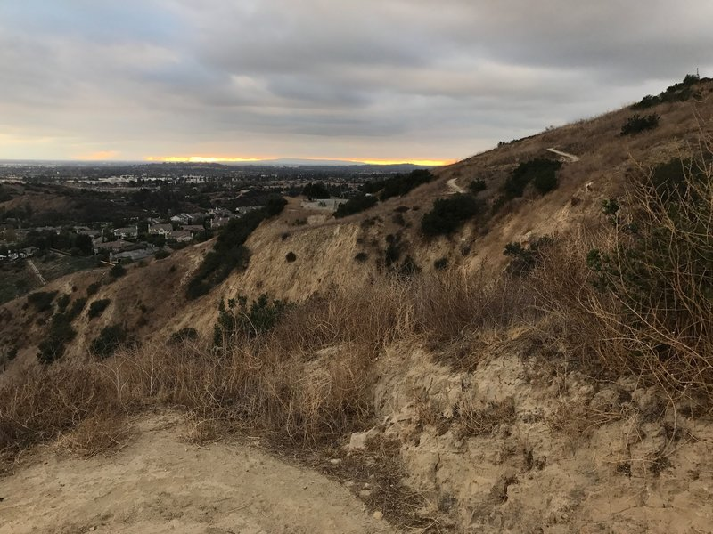 Catalina Island can be seen in the distance as we hike down the eastside of Olinda Trail.  On the opposite ridge you can see the switchback going to the top.
