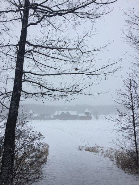 A wintery view of the Farm Barn at Shelburne Farm.