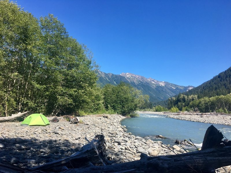 Camping on the Hoh River near the Olympus Ranger Station.