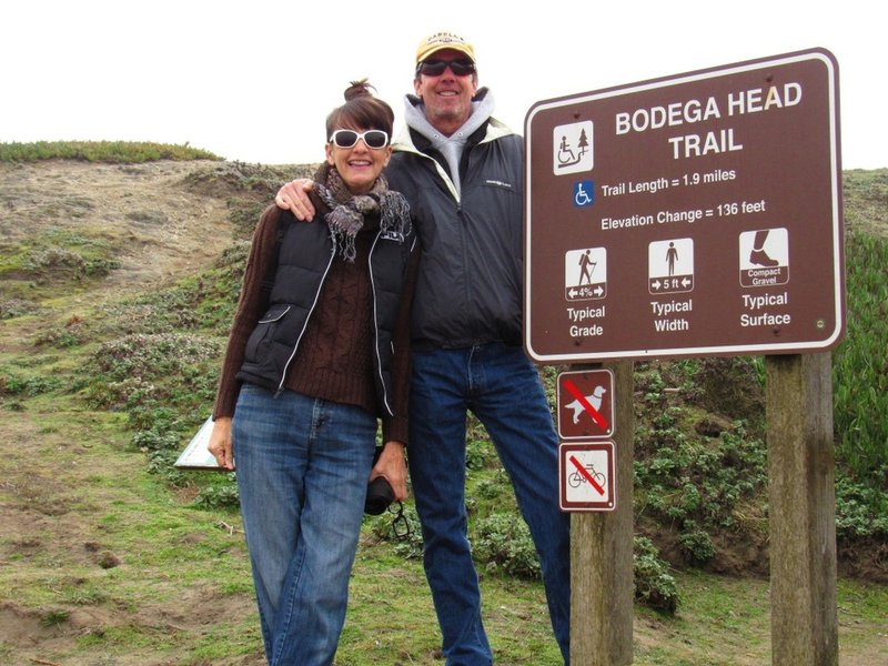 Sharing the sign stating the rules of the Bodega Head Trail
