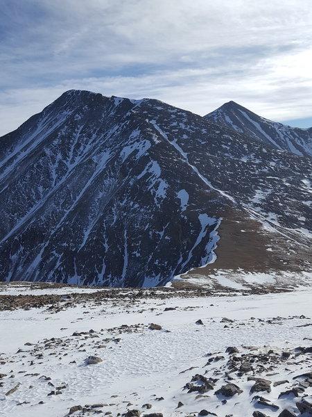 Approaching the low point. Torrey's peak looms ahead, Grizzly Peak D is behind.