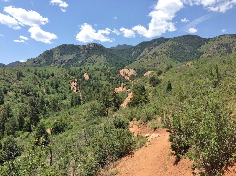 Looking back at the Rocky Mountain foothills from the end of the Mesa Trail