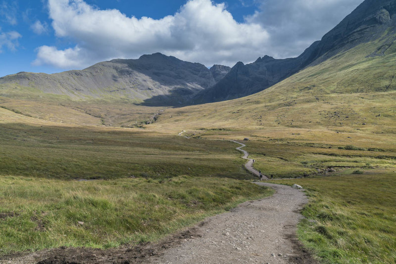 Looking forward to the Fairy Pools Trail with the Cuillin Mountains in the background.