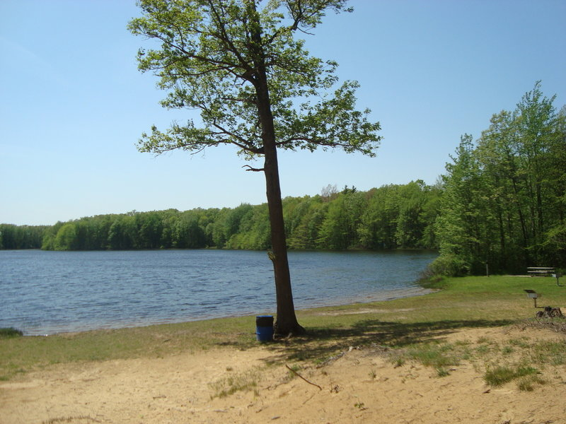 Springtime at Ely Lake at Ely Lake Campground which is a stop-over on the Wakazoo Trail.