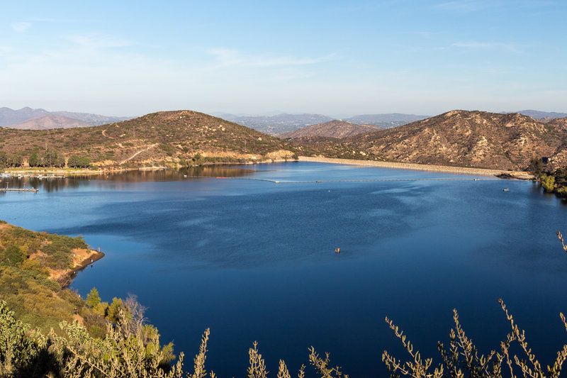 Lake Poway during the early morning from the lookout at the south of the lake